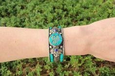 Metal turquoise & lapis lazuli adjustable cuff $12.5 USD   #boho #gypsy #bohojewelry #hippiejewlery #gypsyjewelry