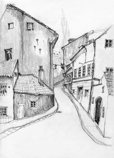 This one is a traditional lane that is crowded by an old European town village and they remind us of souvenir shops arranged along the street with small bars. This is why I like this sketch, it is a metaphor for tourism.