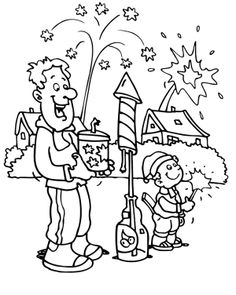 Party Fireworks In The New Year Coloring Page  focs artificials