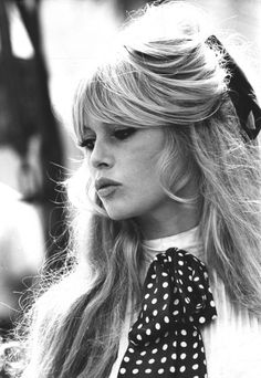 Bardot Style Big Hair. Thats what Im talking about!This entire look is back again, so timeless and elegant it never really leaves.  Taz x