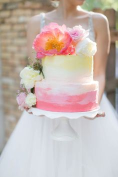 Yellow + pink ombre wedding cake complete with coral charm peonies - YALL! | PSJ Photography