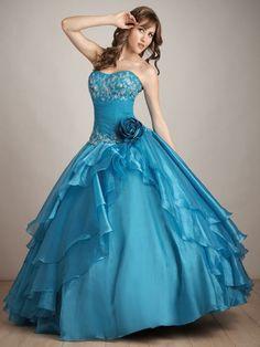 vestidos de xv años azul turquesa cortos - Buscar con Google