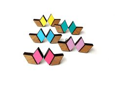 Follow my passion: Chevron Arrow Laser Cut Wood Earrings Studs - Tallowwood - pick your colour - Yellow Lilac Sky Blue Hot Pink Emerald
