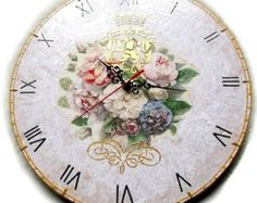 Royal Roses - Decoupage Antique Wall Clock