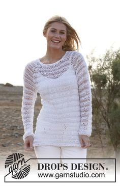"""Free knitting pattern for mesh pullover Knitted DROPS jumper with dropped sts and raglan in """"Paris"""", """"Cotton Viscose"""" and """"Vivaldi"""". Size: S - XXXL. ~ DROPS Design"""