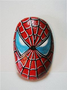 Spiderman Spider Man hand painted rock signed Marvel DC by RocksOk