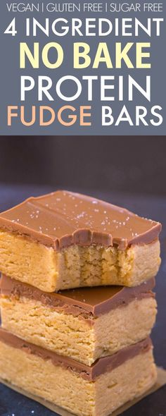 4 Ingredient No Bake Vegan Protein Fudge Bars #GlutenFree #SugarFree