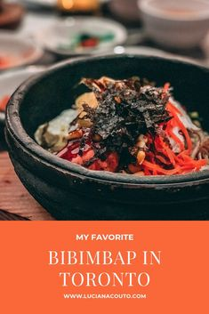 Nowadays Im obsessed with bibimbap, a type of Korean dish served in a stone pan that continues to cook the food at the table. There are numerous versions, usually based on rice or noodles.    Kimchi Korea House is my favorite place in Toronto to get a delicious bibimbap. My husband and I go there e