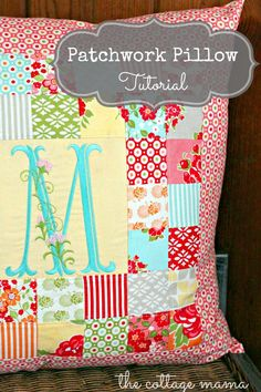 Easy Patchwork Pillow: Free Pattern and Tutorial from The Cottage Mama. #thecottagemama