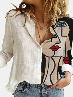 Kleidung Design, Painted Clothes, Looks Chic, White Shirts, Mode Inspiration, Mode Style, White Long Sleeve, Collar Shirts, Printed Blouse