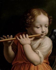 Bernardino Luini (Italian,1482-1532) ~ Child Angel Playing a Flute ~ 1500 ~ Bernardino Luini was a North Italian painter from Leonardo's circle of the Milanese school.