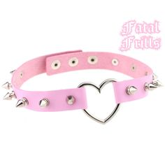 Spiked Pink Leather Heart Choker Collar Punk Pastel Goth Kawaii 90s Adjustable O-Ring Necklace Spikey Choker Vegan by FatalFrills on Etsy https://www.etsy.com/listing/529111525/spiked-pink-leather-heart-choker-collar