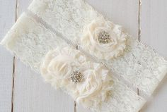 Bridal Garter Set,  Cream Garter, Rhinestone Garter, Lace Garter, Shabby Chic Garter, Elastic Lace. $25.00, via Etsy.