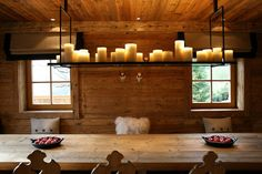 Kevin Reilly Altar Hanging Light—bronze light structures with waxed candle motifs. Chalet Design, House Design, Kevin Reilly, Lodge Style, Chalet Style, Simply Home, Cabin Lighting, Timber House, Interior Decorating