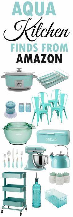 Aqua Kitchen Decor-Aqua Kitchen Accesories-From Am Colorful Kitchen Decor, Retro Home Decor, Kitchen Colors, 1950s Decor, Cottage Kitchen Decor, Diy Kitchen, Vintage Kitchen, Kitchen Ideas, Country Kitchen
