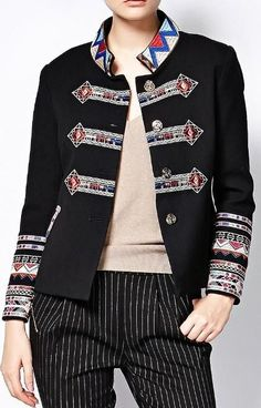Embroidered Soldier Style Jacket in Black