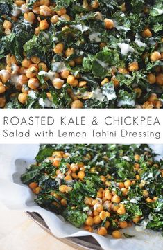 Roasted Kale and Chickpea Salad with Lemon Tahini Dressing – salad-recipes. Veggie Recipes, Whole Food Recipes, Vegetarian Recipes, Dinner Recipes, Cooking Recipes, Healthy Recipes, Roasted Kale Recipes, Kale Salad Recipes, Recipes With Kale