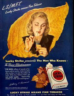 1948 Lucky Strike Cigarettes Vintage Advertisement Man Cave Wall Art Bar Decor Game Room Poster Original Magazine Print Ad Tobacco Ephemera by RelicEclectic on Etsy Vintage Advertisements, Vintage Ads, Vintage Prints, Vintage Posters, Vintage Stuff, Vintage Antiques, Magazine Ads, Print Magazine, Dipping Tobacco