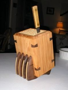 A stylish Bamboo Skewer Knife Block