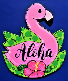 Your place to buy and sell all things handmade Tropical Doors, Outdoor Deck Decorating, Porch Decorating, Outdoor Decor, Country Wood Crafts, Tiki Bar Signs, Flamingo Craft, Summer Porch Decor, Door Plaques