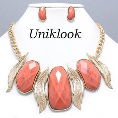 Gorgeous Gold Coral Orange Laurel Statement Chunky Jewelry Necklace Earrings Set $24.99
