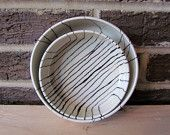 Black and White Lined Bowl. Graphic. Modern. Handmade ceramic bowl. Housewarming gift.. $26.00, via Etsy.