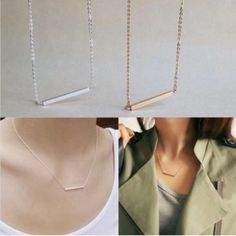 Gold plated horizontal bar minimal necklace New. Stunning minimal style horizontal bar necklace - gold plated. Thank you for visiting my closet, please feel free to ask any questions, I offer great discounts on bundles  Boutique Jewelry Necklaces