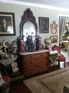 Beautiful Victorian dresser with lamp