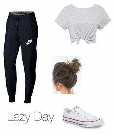 c26965eee3b0 Lazy Day Outfit by gracehelen06 on Polyvore featuring NIKE and Converse   workoutoutfits  LatestTeensWear