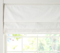 Twill Cordless Roman Shade with Blackout Lining | Pottery Barn Kids...white or navy