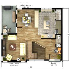 Modèle maison usinée 784 (étage)