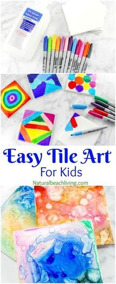 Tile Art for Kids That Everyone Will Enjoy - Best Tile Art Idea - Natural Beach Living Easy Tile Art for Kids That Everyone Will Enjoy, Sharpie Art is the coolest, perfect art for kids, Fun Art process, Painted Coasters make a great gift Arte Sharpie, Sharpie Crafts, Resin Crafts, Sharpie Tie Die, Sharpie Art Projects, Jar Crafts, Bottle Crafts, Fun Crafts For Kids, Diy For Kids