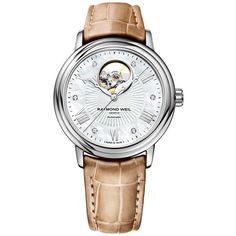 Raymond Weil Maestro Mother Of Pearl Dial Beige Leather Ladies Watch ($1,170) ❤ liked on Polyvore featuring jewelry, watches, dress watch, automatic movement watches, roman numeral watches, skeleton jewelry and skeleton wrist watch