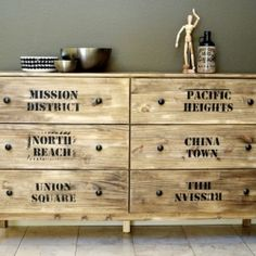 Turn a basic cheap IKEA into a statement piece for your home. Used here: stain, self made stencils, new knobs and wax.