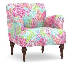 Madison Upholstered Settee, Polyester Wrapped Cushions, Lilly Pulitzer Let's Cha Cha Tiki Shorely Pottery Barn Furniture, Funky Furniture, Recycled Furniture, Home Furniture, Outdoor Furniture, Pastel Furniture, Beach Furniture, Furniture Chairs, Paint Furniture