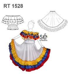 VESTIDO TRAJE TIPICO COLOMBIA Mexican Traditional Clothing, Traditional Dresses, Folklorico Dresses, Dress Patterns, Sewing Patterns, Mexican Skirts, Fairytale Fashion, Casual Outfits, Fashion Outfits