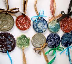 Porcelain Slip Trailed Christmas Ornaments