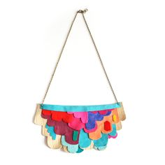 Neon Scalloped Necklace Color Block Leather Bib Necklace