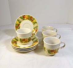 METLOX Poppy Trail Vernonware - Della Robbia Pattern 4 Cups and Saucers by KatsCache on Etsy https://www.etsy.com/listing/175731635/metlox-poppy-trail-vernonware-della