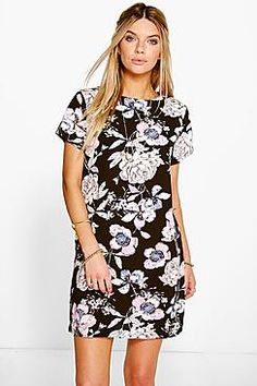 ¡Cómpralo ya!. Aeya Floral Print Cap Sleeve Shift Dress. Pared back day dresses are the perfect base for layering up this seasonNo off-duty wardrobe is complete without a casual day dress. Basic bodycon dresses are always a winner and casual cami dresses a key piece for pairing with a polo neck, giving you that effortless everyday edge. Tone down the twinkle for day by teaming a sequin slip dress with a jersey tee , vestidoinformal, casual, informales, informal, day, kleidcasual…