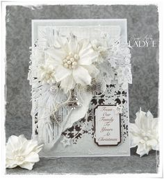 Monochrome Christmas Card & Video Tutorial Wild Orchid Crafts DT (Scrap Art by Lady E) Christmas Cards 2017, Create Christmas Cards, Beautiful Christmas Cards, Xmas Cards, Shabby Chic Christmas, Silver Christmas, Handmade Christmas, Winter Karten, Poinsettia Cards