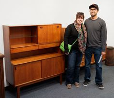 Cesar & Megan of Olmos Park scored this mid-century highboard for only $300! #mid-century #midcentury #vintage #antiques #Vogt #Auction #home #decor #design
