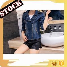 L6709 2017 Wholesale Women's Fashion Spring&Autumn Short Slim Jeans Jacket Ladies Denim Zipper Washed Jacket Coat