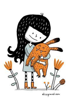 Elise Gravel illustration • Love • Girl and baby monster
