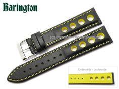 Watch strap Racing 20mm black leather yellow stitching by Barington