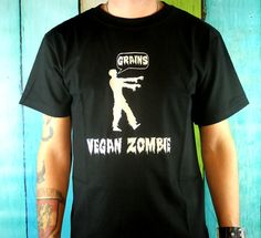 Zombie TShirt Mens - Black Vegan Zombies Fashion Screenprinted Clothing Horror Inspired Graphic on Etsy, $20.00 Zombie Gifts or Zombie presents for that hard to shop for Undead in your life