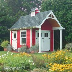 Free 10X12 Garden Shed Plans | Schoolhouse Storage Shed | The Family Handyman Small Buildings, Garden Buildings, Garden Structures, Outdoor Structures, Free Shed Plans, Beautiful Gardens, Shed Building Plans, Interior Exterior, Interior Design
