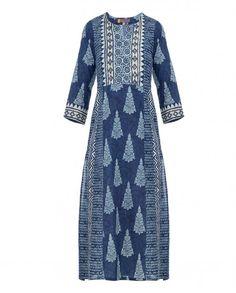 Navy Blue Tunic with Block Prints Ethnic Outfits, Indian Outfits, Fashion Outfits, Ethnic Fashion, Indian Fashion, Kurtha Designs, Indigo, Designer Kurtis Online, Block Prints