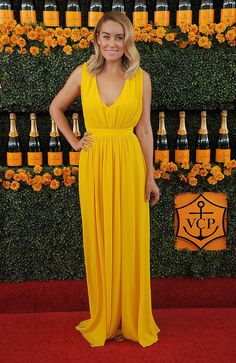 Lauren Conrad makes a spring dress work for fall at the Veuve Clicquot Polo Classic