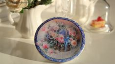 A Basket Full of Pink Roses Dollhouse Plate. €3.10, via Etsy.